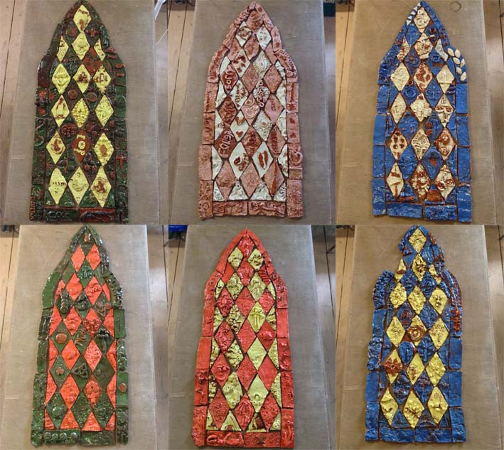 Montage of finished ceramic stained glass windows made by Malvern Parish pupils and Eastnor Pottery