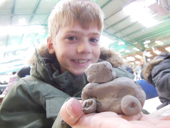 Finished Clay Tractor made with Eastnor Pottery at Country Tastic
