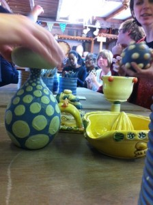 Deaf-Blind Sense Group at Eastnor Pottery working with Clay