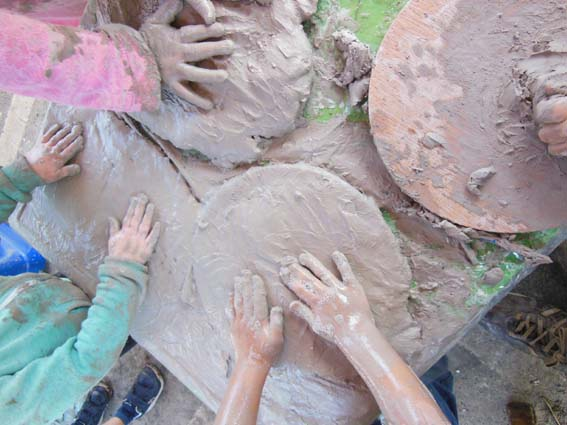 Hands in clay at Cradley Primary School with Eastnor Pottery