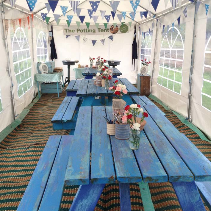 The Potting Tent at Eastnor Pottery Returns for Large Groups and Hen Parties