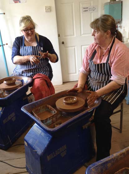2 Potter's Wheel Participants with great POTS AT eASTNOR pOTTERY