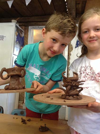 Two Creative Egg Cups made at Eastnor Pottery for Children's Easter Holiday Workshop