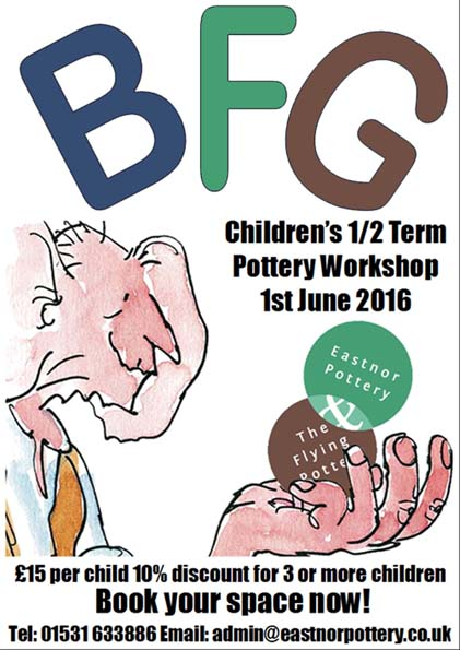 BFG theme for childrens' halfterm holiday pottery workshops with Eastnor Pottery