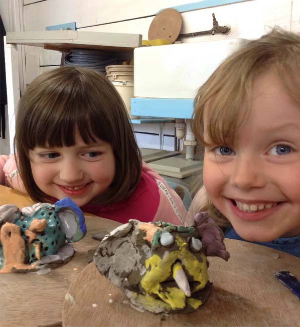 Halfterm pottery workshop for children at Eastnor Pottery inspired by Roald Dahl's BFG