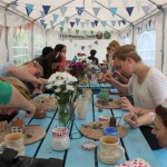 Hens Painting Pinch Pot Sculptures at Eastnor Pottery Hen Party