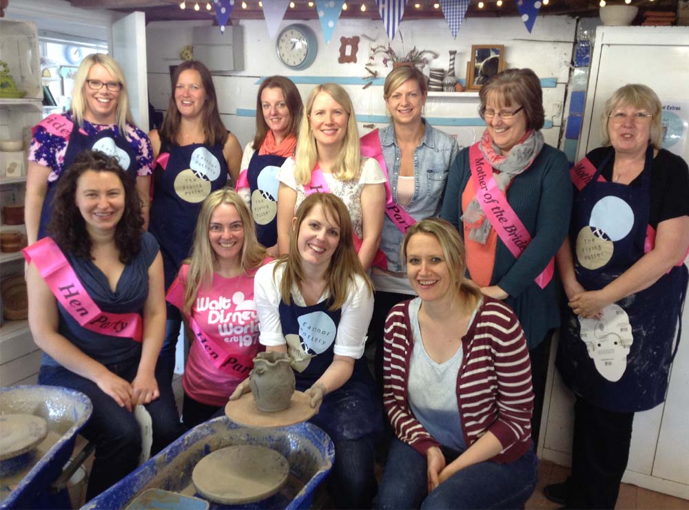 Unmasked hens at Eastnor Pottery after Potter's Wheel Hen Party