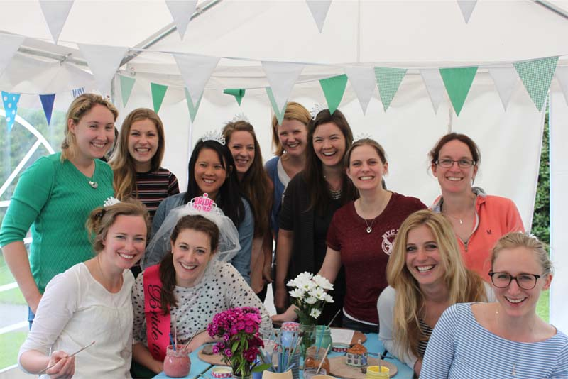 Hens altogether after Pottery themed Hen Party with Eastnor Pottery