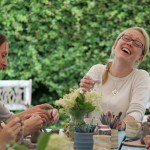 All smiles at Eastnor Pottery with clay themed hen party