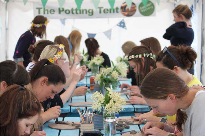 Pottery themed hen party at Eastnor Pottery making clay pinch pots