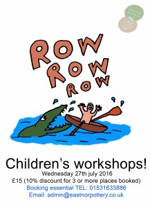 Row row row your boat inspired pottery fun for kids at Eastnor Pottery nr Ledbury