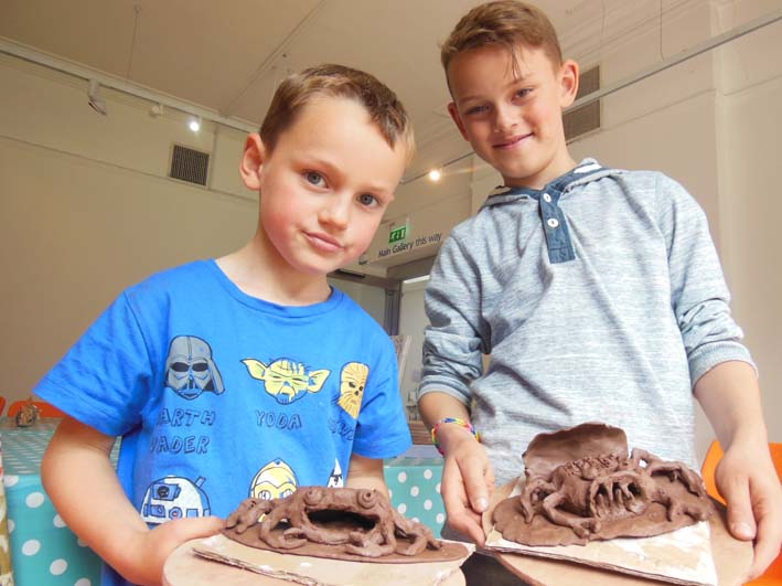 Eastnor Pottery at Bilston Arts Gallery making clay sea creatures