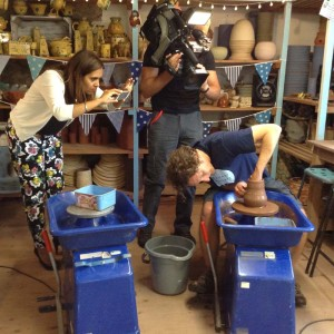 Jon showing how to throw a bee on the Potter's Wheel