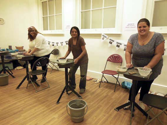 University of Wolverhampton Graduates helping Eastnor Pottery workshop
