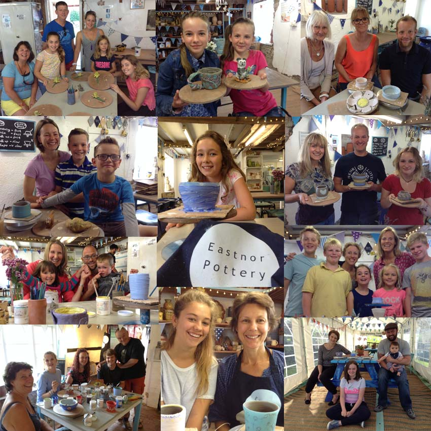 montage of photos of our pottery making customers from the summer holidays 2016