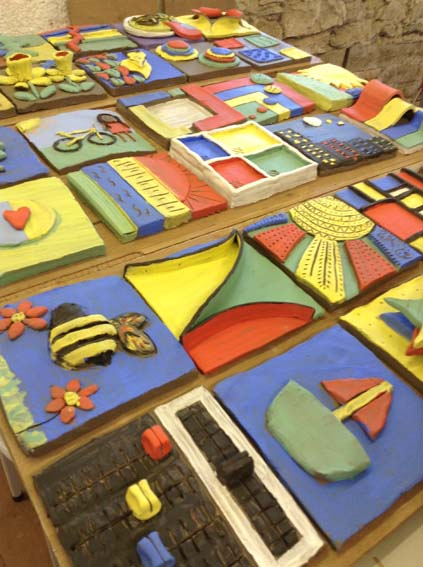 Fantastic tiles made at Eastnor Pottery by Mira Teambuilding participants