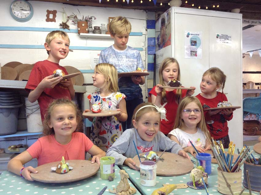 6th birthday spent making and colouring clay models at Eastnor Pottery in Herefordshire