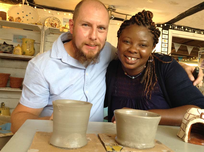 Couple make pottery to celebrate 9th wedding anniversary