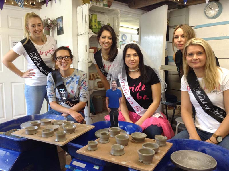 Hen Party at Eastnor Pottery learning to throw on the wheel