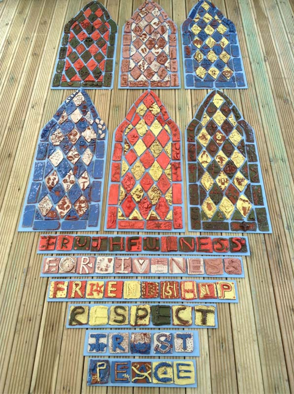 Eastnor Pottery and Malvern Parish Work Together to Make Ceramic Stained Glass Tile Panels