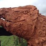 Terracotta Trex made by families at Eastnor Castle with help from Eastnor Pottery