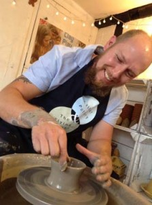 husband make wife clay pot to celebrate 9th wedding anniversary at Eastnor Pottery near Malvern