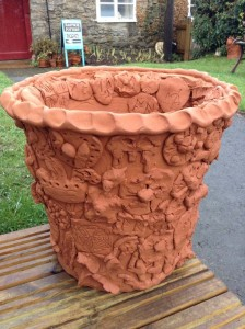 Terracotta planter made by Eastnor Pottery & The Flying Potter with Staunton on Wye Primary School