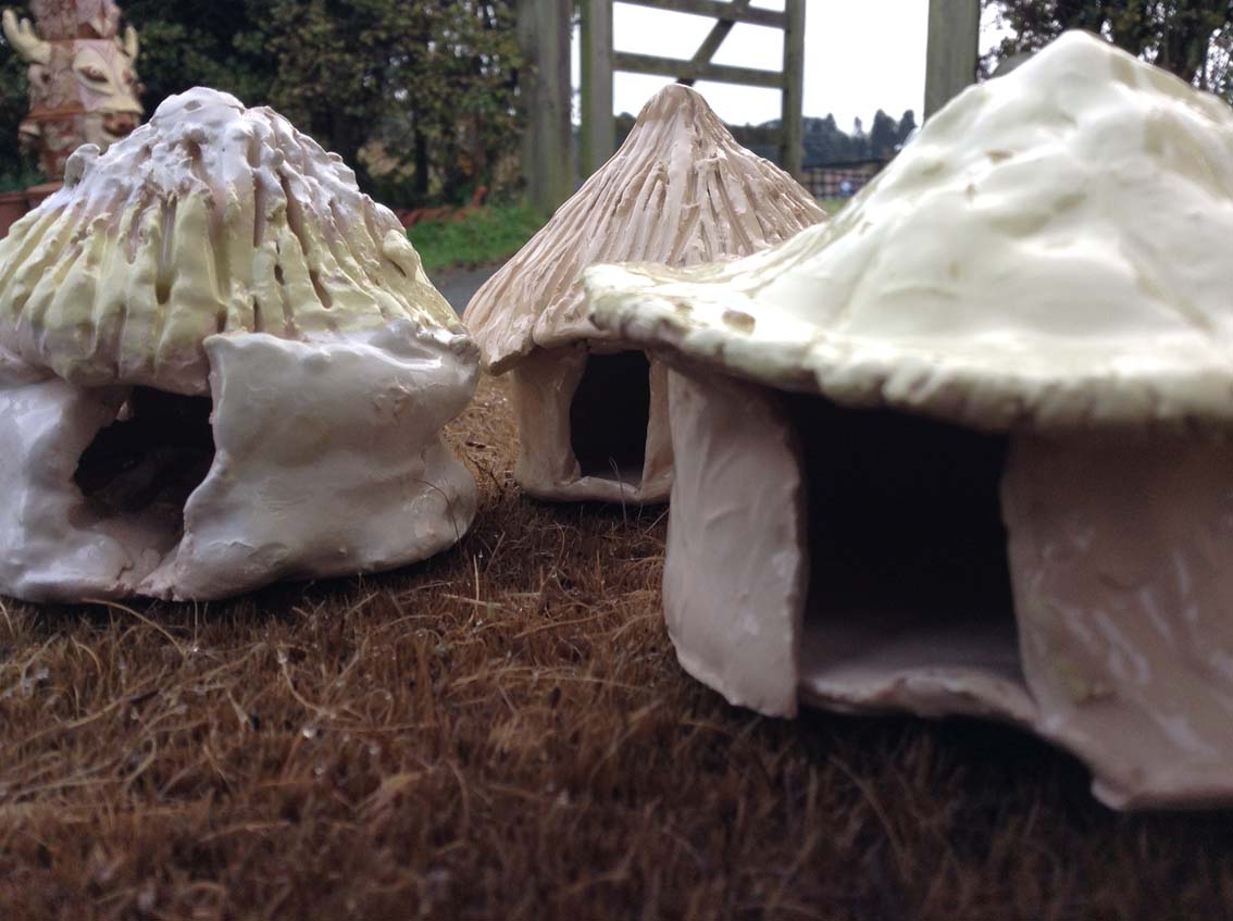 Anglo Saxon huts made by KS1 children from Finstall First School Worcestershire