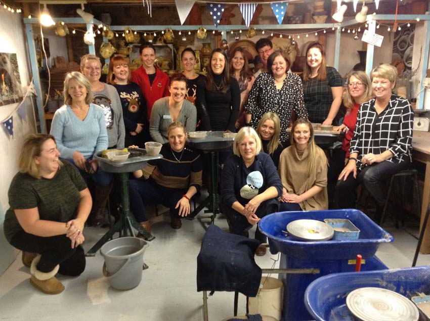 Busy bees day nursery visit Eastnor Pottery for teambuilding event