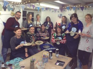 PGL ski team office party making frogs snowmen and penguins at Eastnor Pottery Ledbury