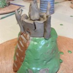 mott and bailey clay castle made by primary school pupil at Eastnor Pottery Herefordshire