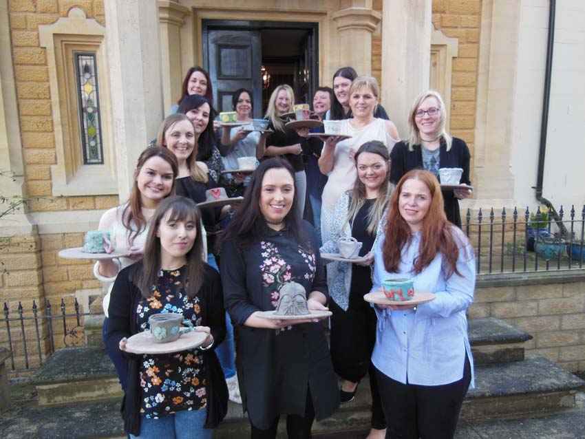 Mobile pottery hen party visits Hardwick House nr Tewkesbury