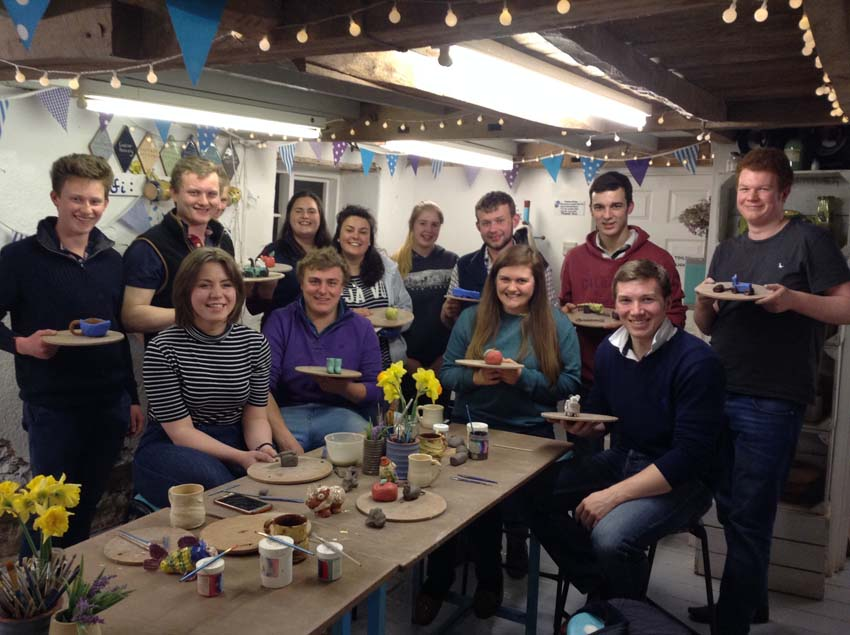 Ledbury young farmers spend a meeting at eastnor pottery making agricultural inspired clay models