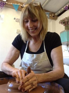 lady making pots on weekend pottery course at Eastnor Pottery herefordshire