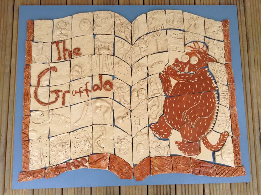 gruffalo tile panel created by pupils at meadows first school in bromsgrove