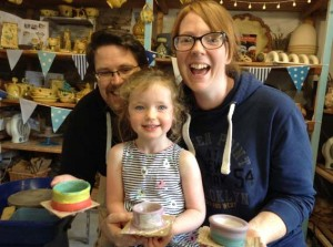 Family of three make pottery at Eastnor Pottery in the Summer holidays 2017