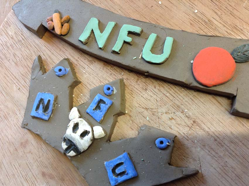 Clay tiles made at eastnor pottery by nfu west midlands as a team building exercise