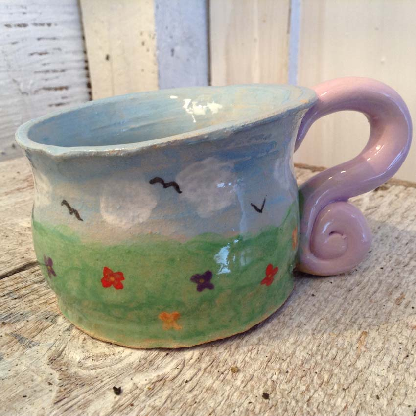 Hand made mug made by workshop participant at Eastnor Pottery in West Midlands