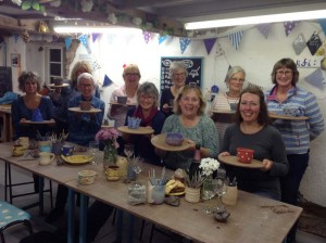 Local WI make pottery coil pots and potter's wheel pots at Eastnor Pottery