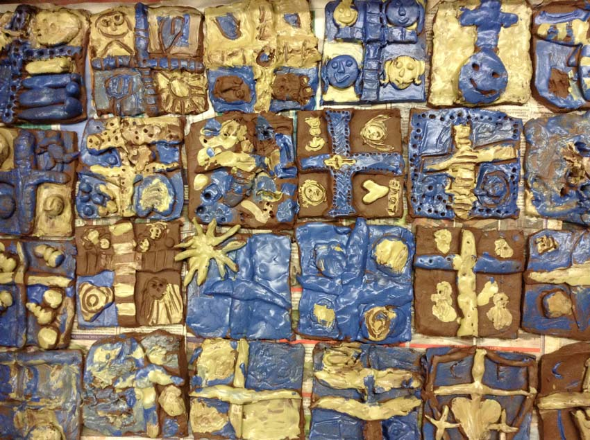 Tile panel made by all the children at Broadwas Primary School
