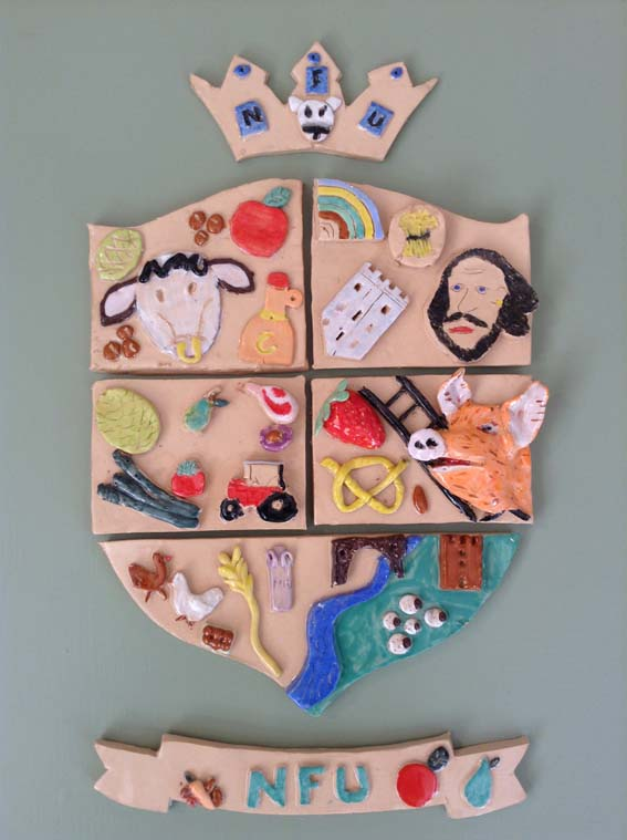 Pottery coat of arms made by NFU West Midlands at Eastnor Pottery Herefordshire