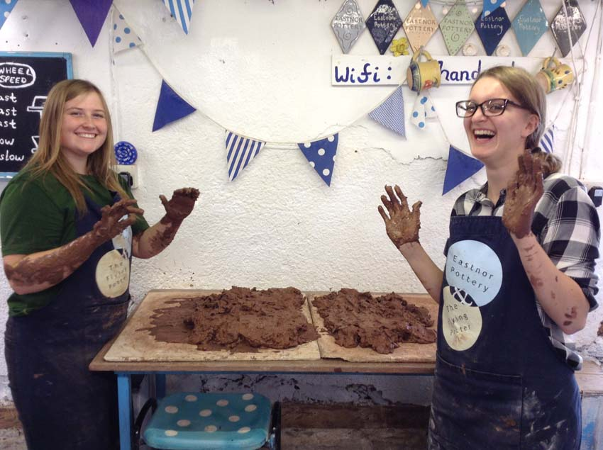 Community arts apprentices Aimee and Immy at Eastnro Pottery