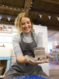 Corporate team event at Eastnor Pottery & The Flying Potter making pots on the potter's wheel