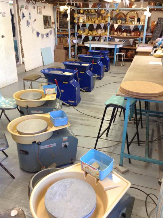 Pottery studio at Eastnor Pottery ready set up ready for seven potter's wheel weekend workshop