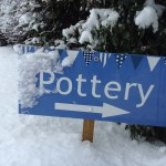 eastnor pottery sign in the snow December 2017
