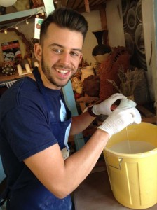 Ethan glazing course participants pots at eastnor pottery
