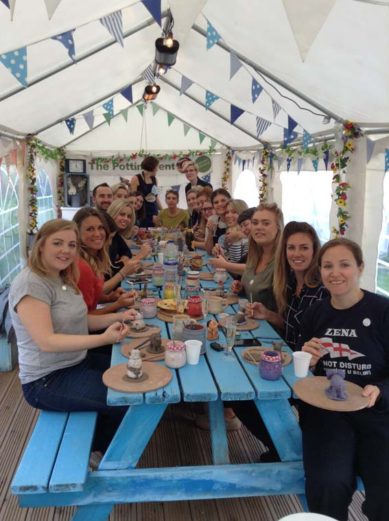 hen party get creative with clay in the potting tent