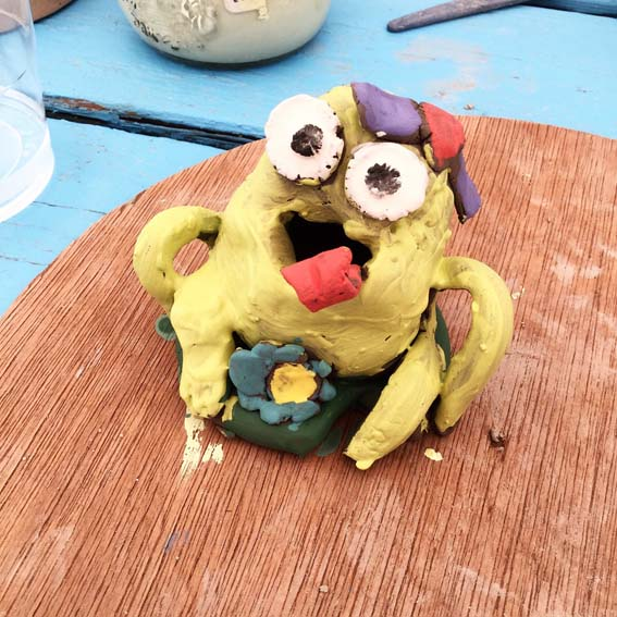 pinch pot frog made at eastnor pottery