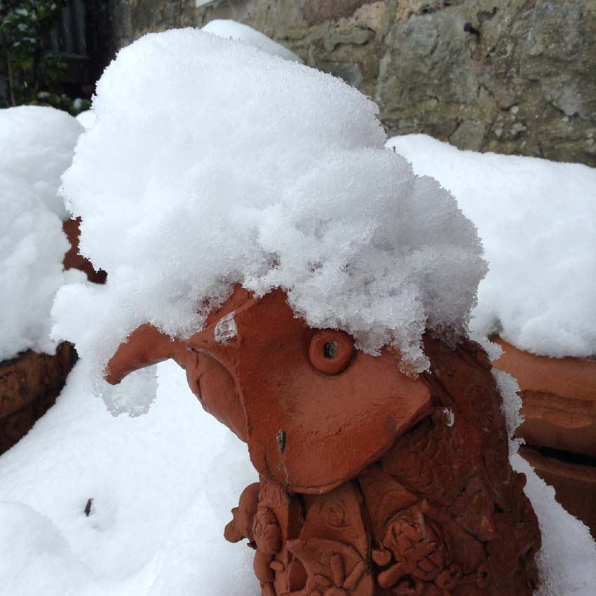 Terracotta pheasant made at Eastnor Pottery covered in snow