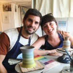 Young couple on honeymoon make arty keep sakes on the potter's wheel at Eastnor Pottery